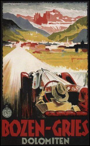 Bozen-Gries Dolomiten 1934 - Italy, Italian vintage old repro travel poster | eBay
