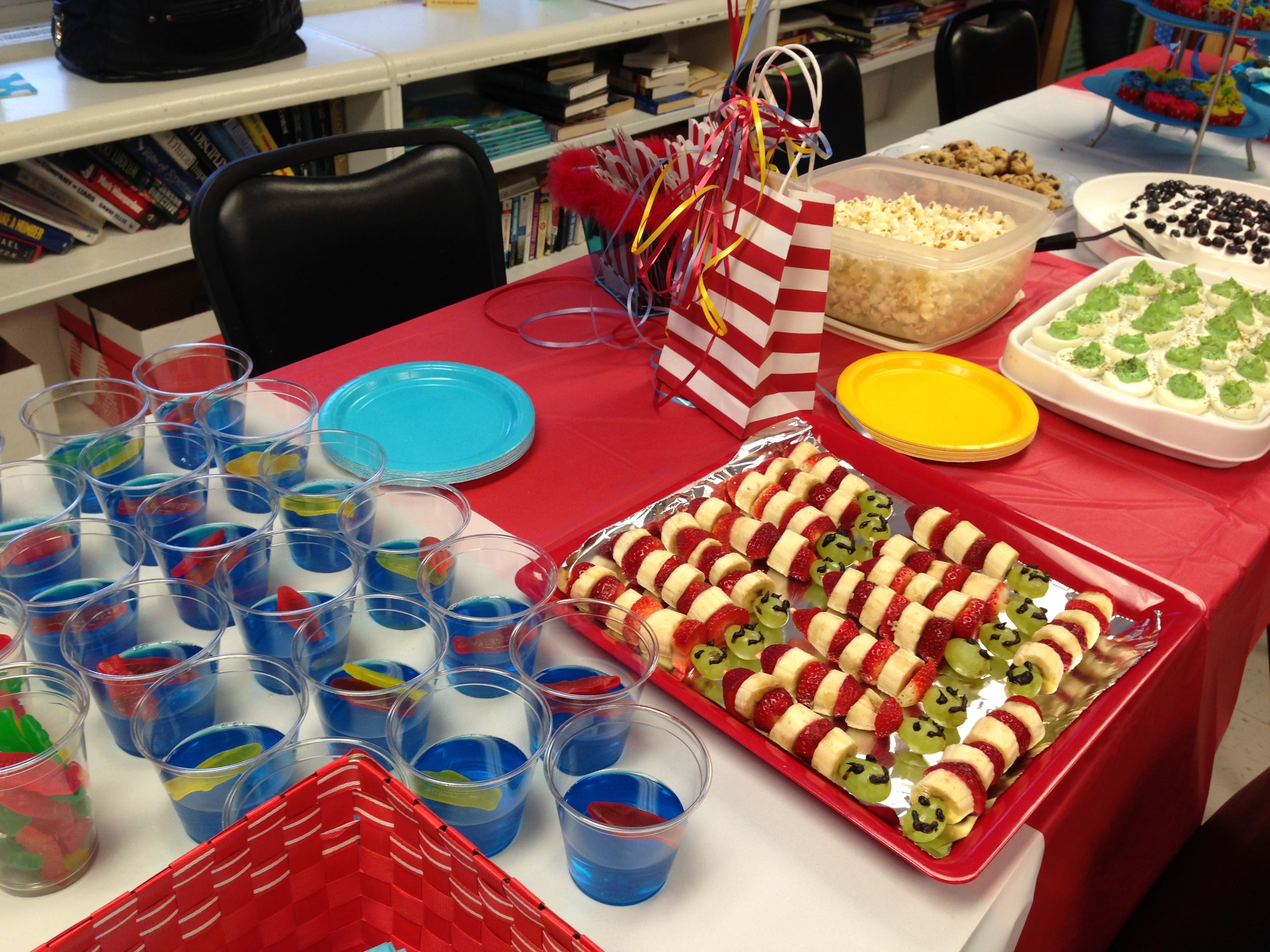 Fun Dr. Suess themed snacks! Blue jello and Swedish fish for \