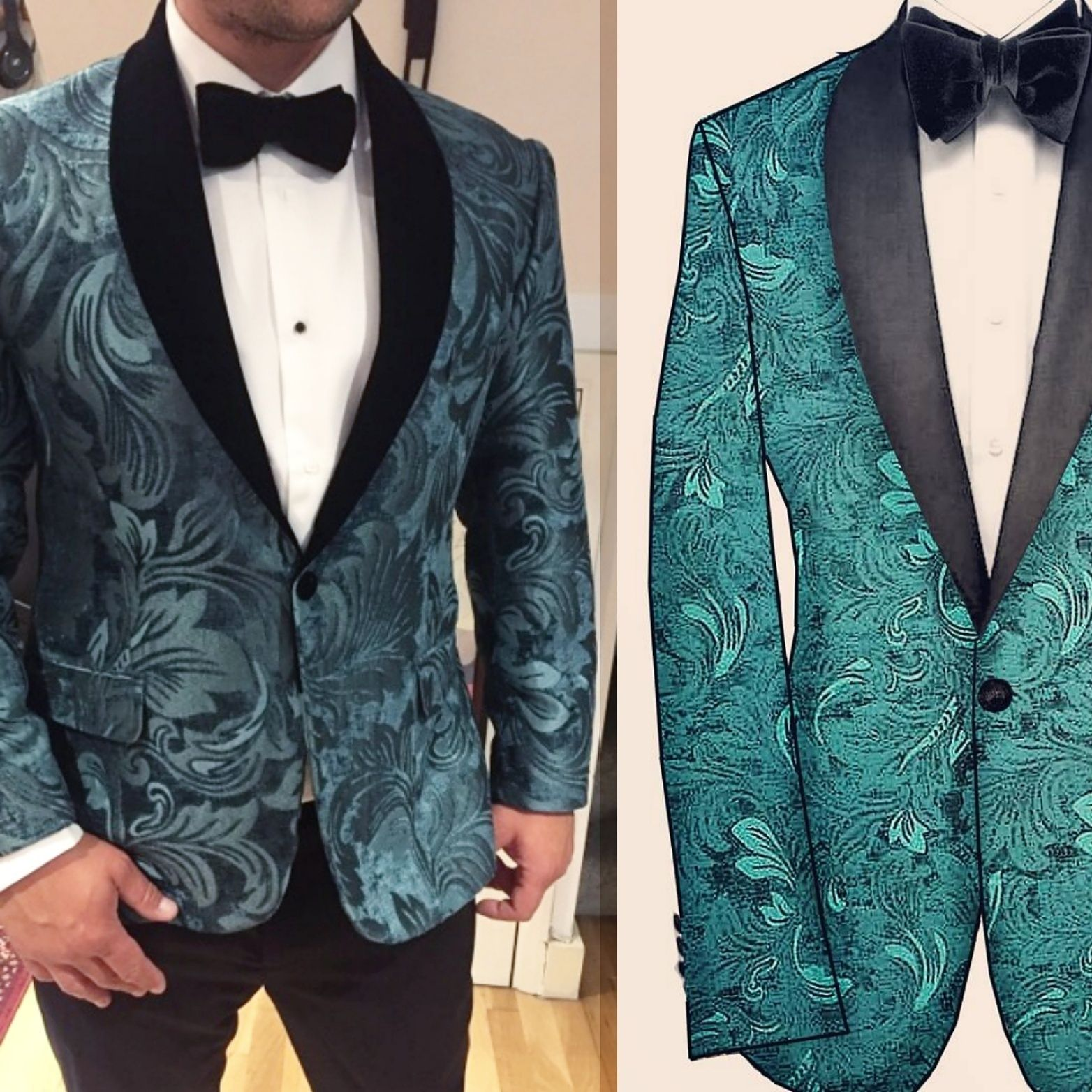 bespoke wedding suit paisley dinner jacket damask ...