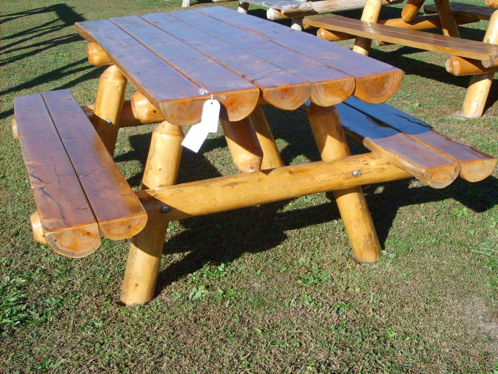 Log picnic table plans for the home pinterest picnic for Log ideas