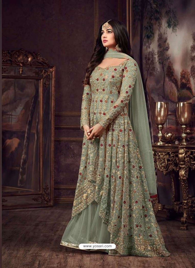 7f03169b7a Olive Green Net Heavy Embroidered Floor Length Anarkali Suit in 2019 ...