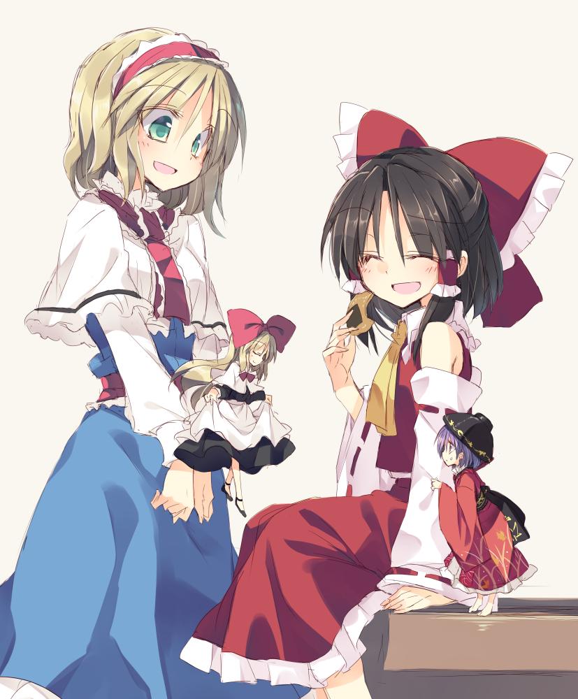 alice margatroid hakurei reimu shanghai doll and sukuna shinmyoumaru touhou drawn by satou kibi danbooru