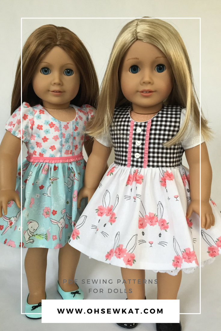 A few Easter Dresses for your Dolls – Made with Sewing Patterns by Oh Sew Kat!