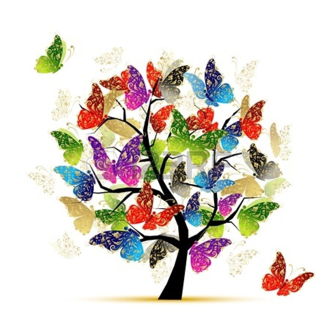 Art tree with butterflies for your design | arte ...