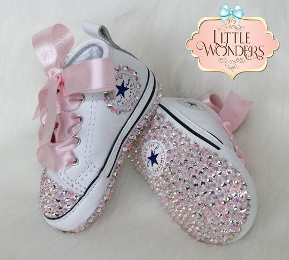 ab7ace86b099 Bling Baby Converse -Swarovski Crystal And Pink AB Stone -White Infant  Leather Converse -Allow 4-8 Days Before Shipping Measurements -Size 1 10.5  cm -Size 2 ...