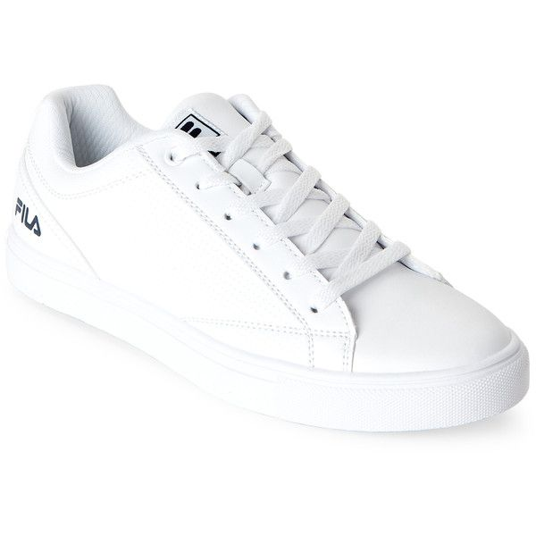 Fila White   Navy Amalfi Perforated Low Top Sneakers (74.325 COP) ❤ liked  on Polyvore featuring shoes f36d73a59
