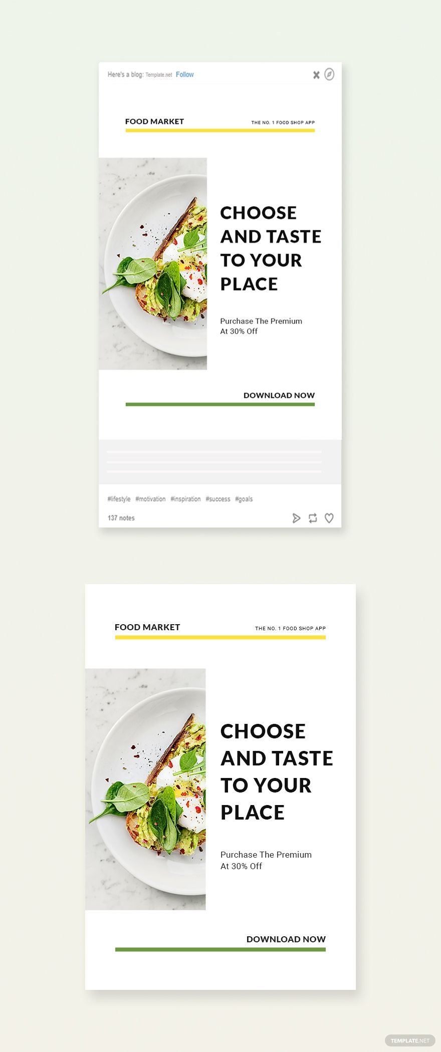 Free Food Market App Promotion Tumblr Post Template In 2020 App