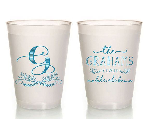 Wedding Cups Monogrammed Favors Custom Frosted Reception Party 1422