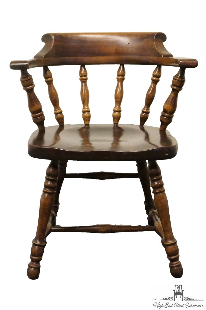 High End Used Furniture | ETHAN ALLEN Antiqued Pine Old Tavern Mateu0027s Chair  12 6001