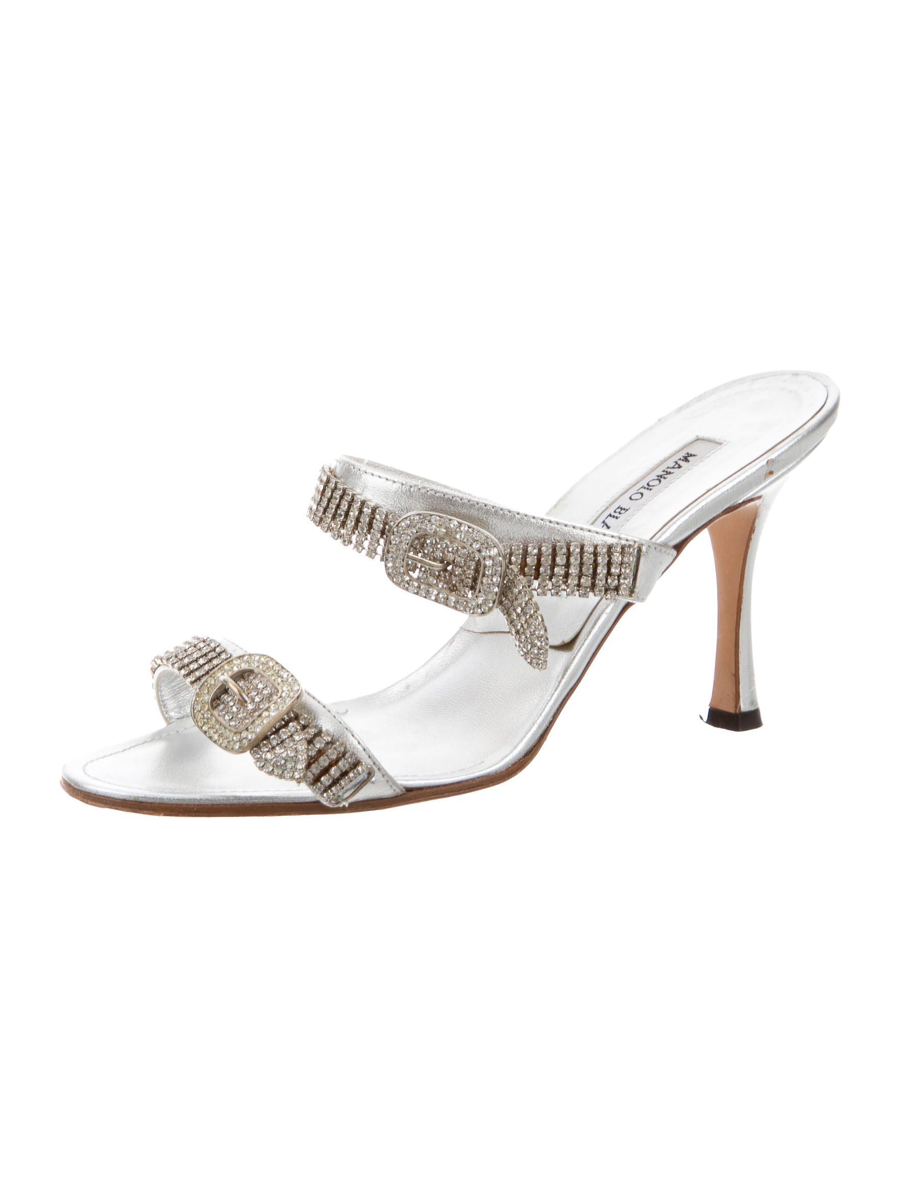 beb9d5879202 Manolo Blahnik Jewel-Embellished Slide Sandals - Shoes - MOO49139