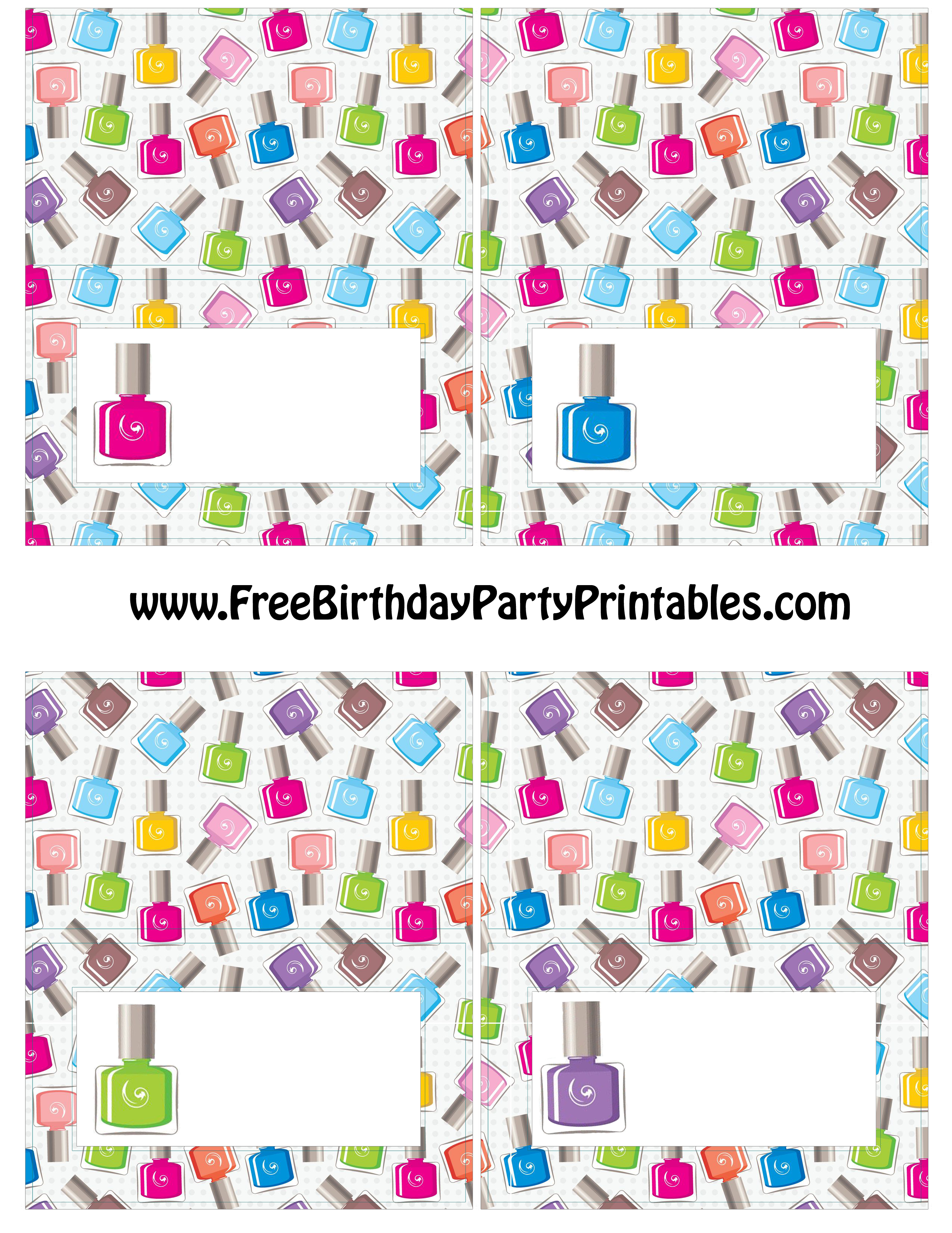 Free Nail Polish Birthday Party Food Tent Card Template by Free Birthday Party Printables Paint Your Nails Stations Nail Stickers Jewels Glitter.png or ...  sc 1 st  Pinterest & Free Nail Polish Birthday Party Printables | Misc. Plastic Bag ...