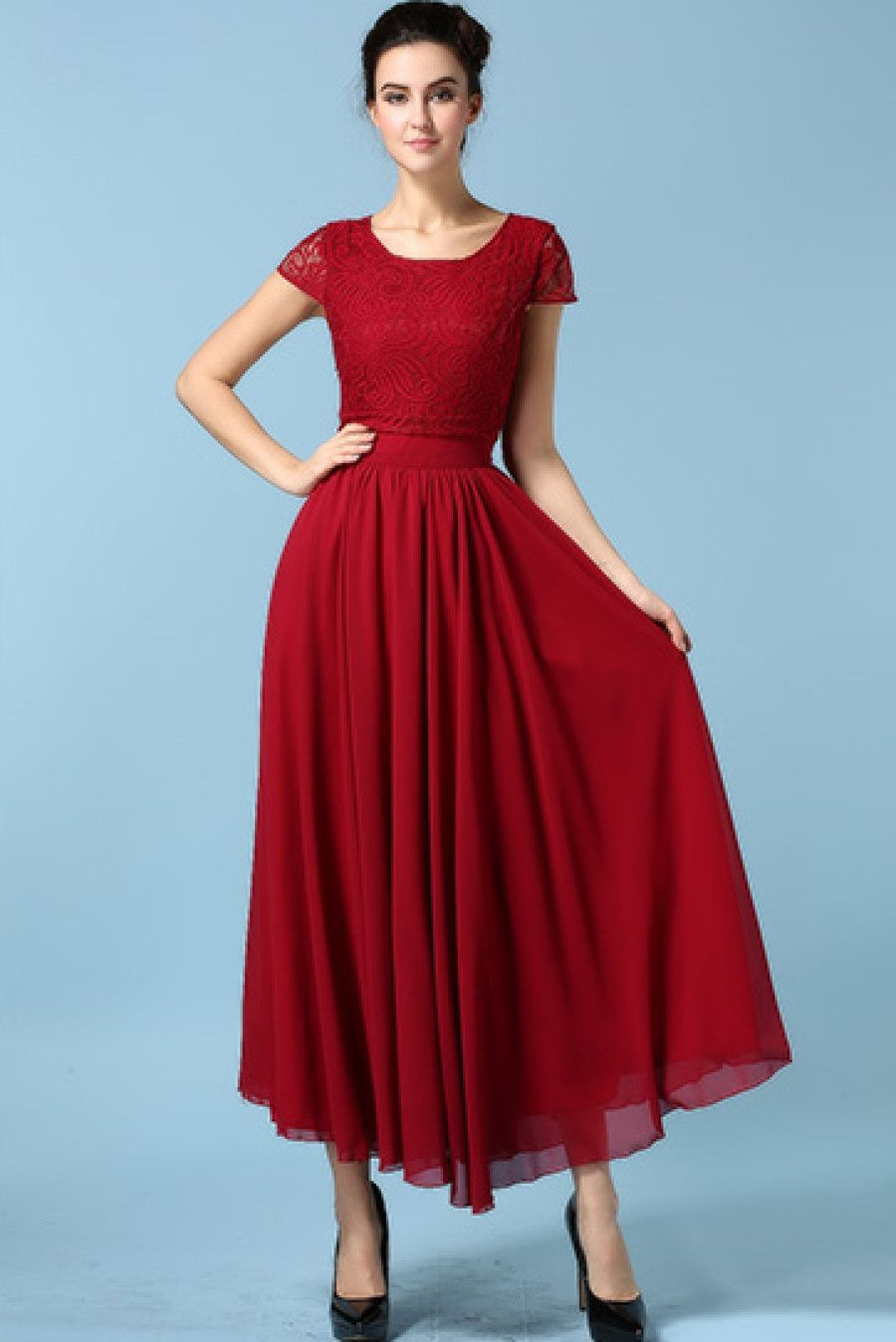 Wine red drapery short sleeve rouge lace chiffon dress special