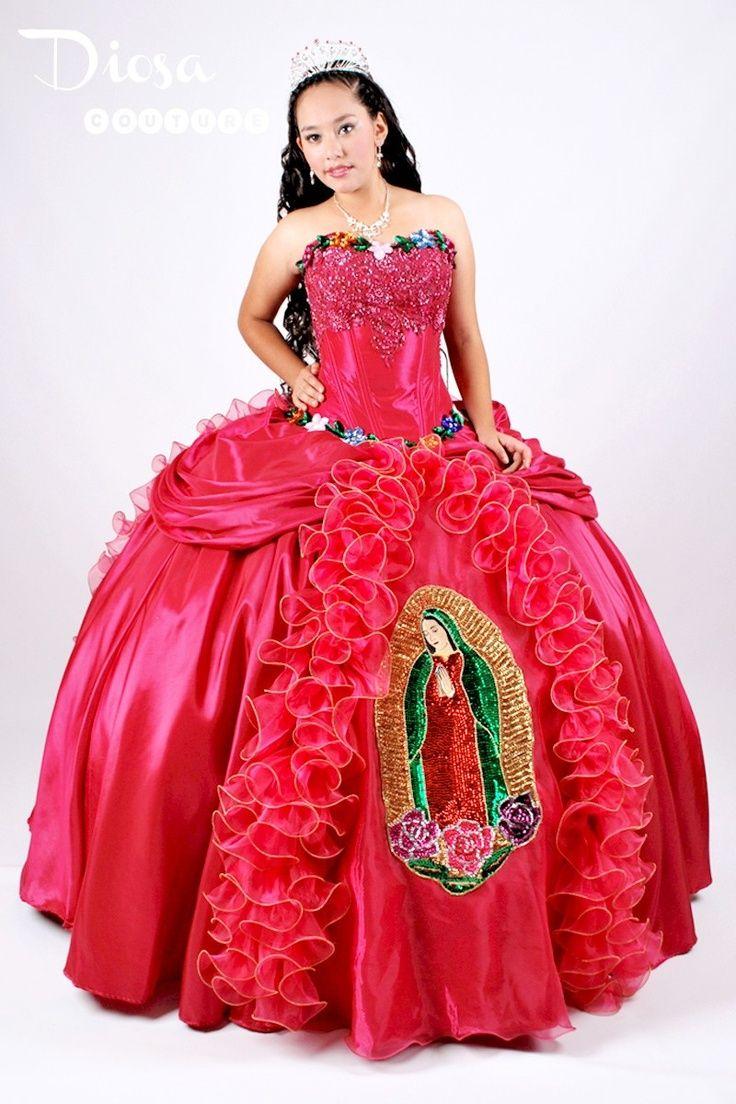 Vestido Xv Años Con Bordado De La Virgen De Guadalupe