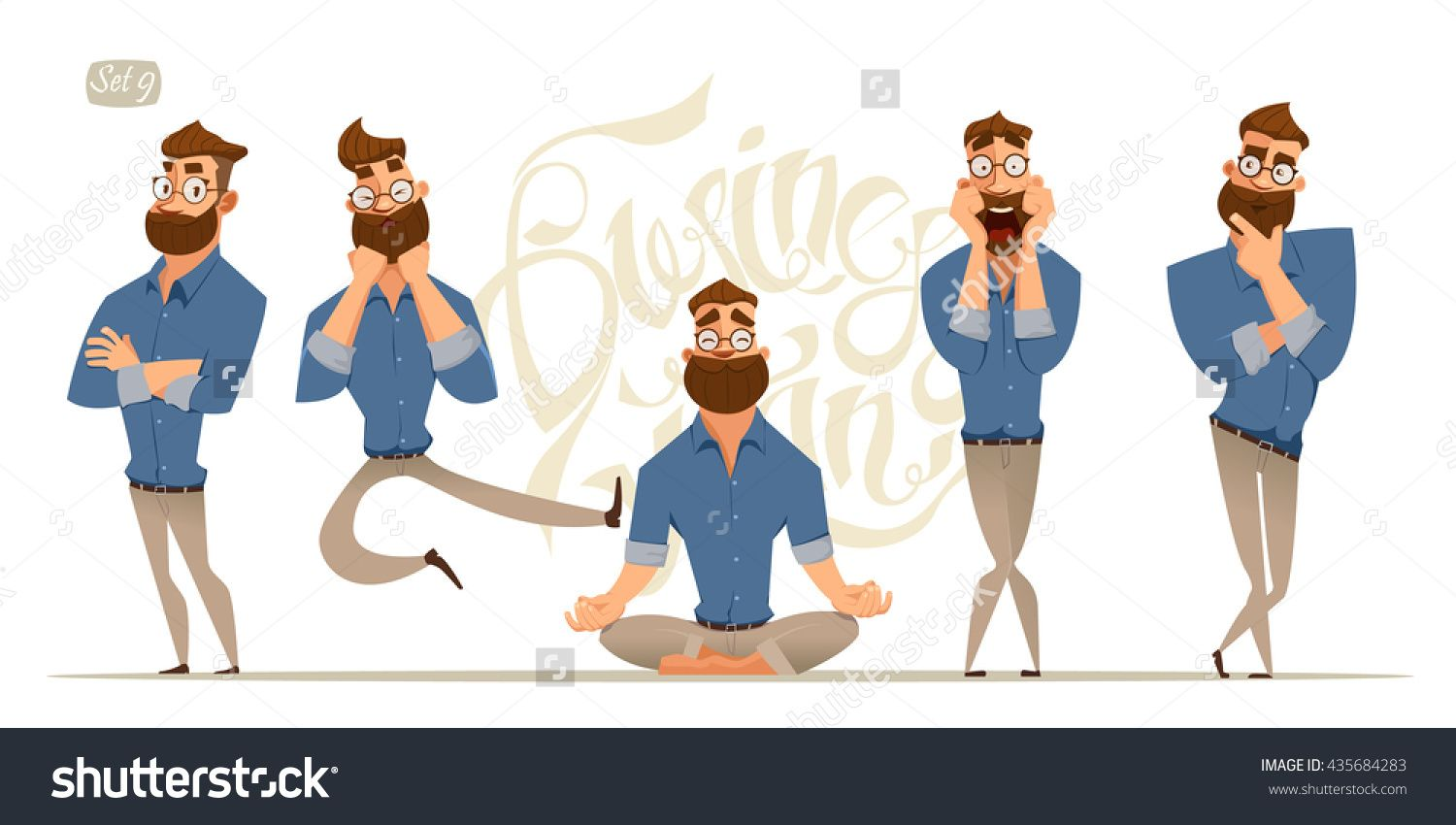 8110443d42a8 Business Man Characters. Business Mans In Casual Clothes. Emotions And  Expressions Stock Vector Illustration 435684283 : Shutterstock