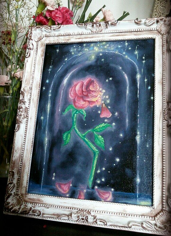 Beauty And The Beast Enchanted Rose Oil Painting By KrishCreates