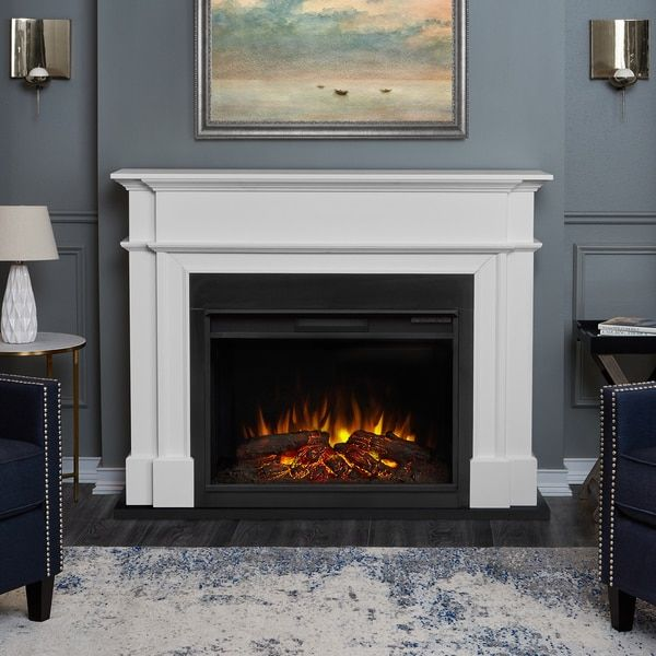 Harlan Grand Infrared Electric Fireplace Mantel Package In White