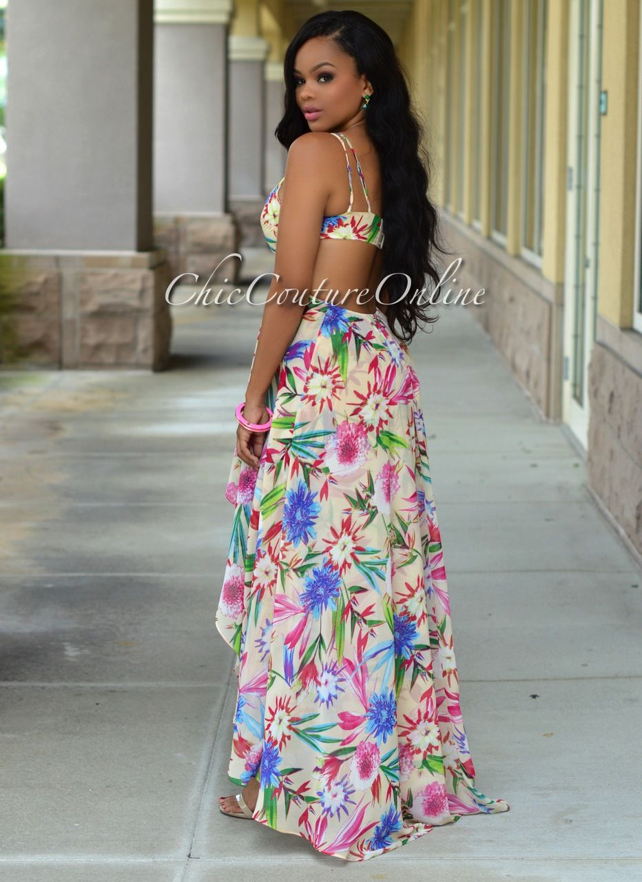 Amaya Cream Fuchsia Multi-Color Floral Maxi Dress