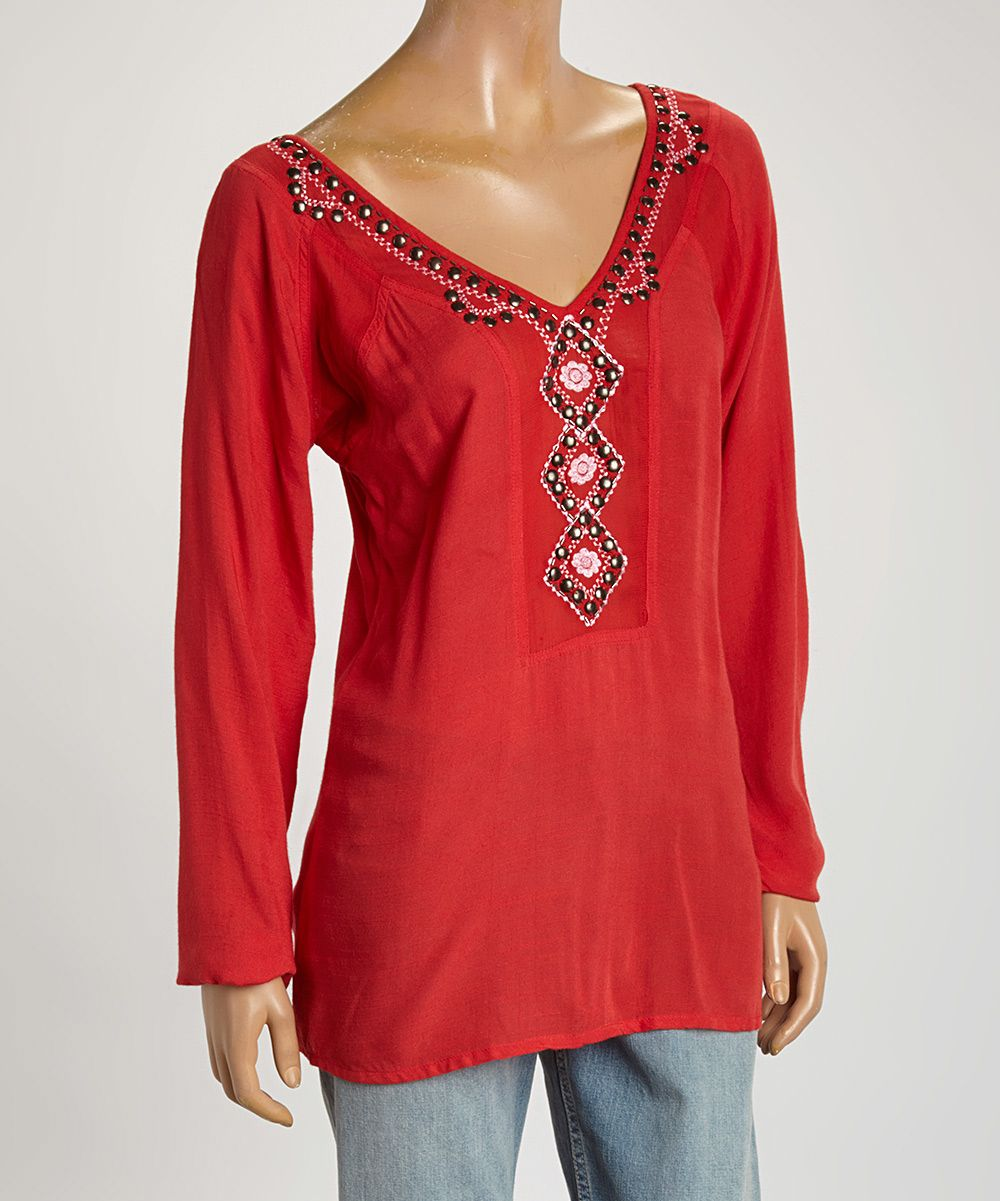 Coral red beaded v-neck tunic.