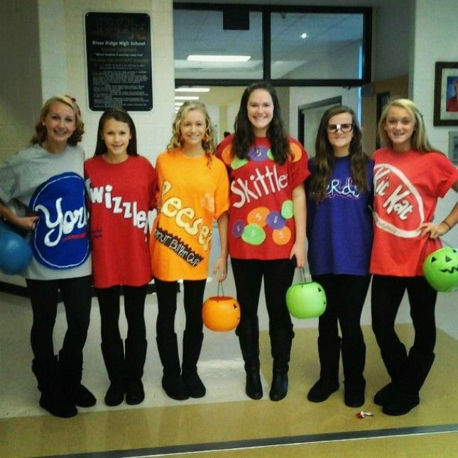 diy candy halloween costume idea for a group of girls peppermint patties skittles twizzler kit kat etc this would be a simple last minute costume with - Group Diy Halloween Costumes