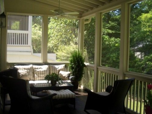 Screen porch with railing breezeway idea backyard for Breezeway screen room