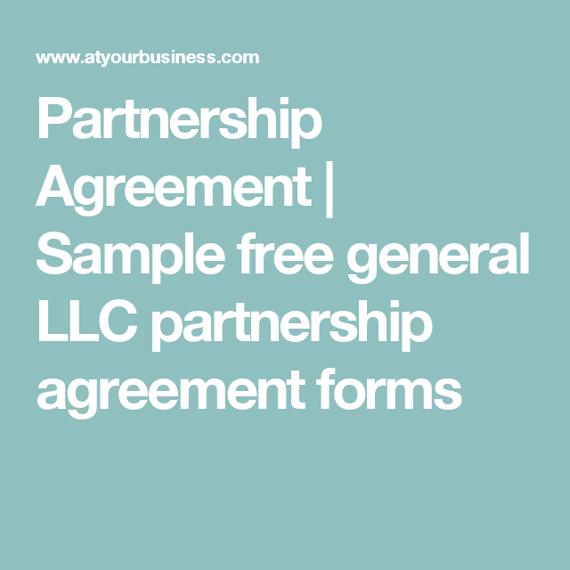 Partnership Agreement  Sample Free General Llc Partnership
