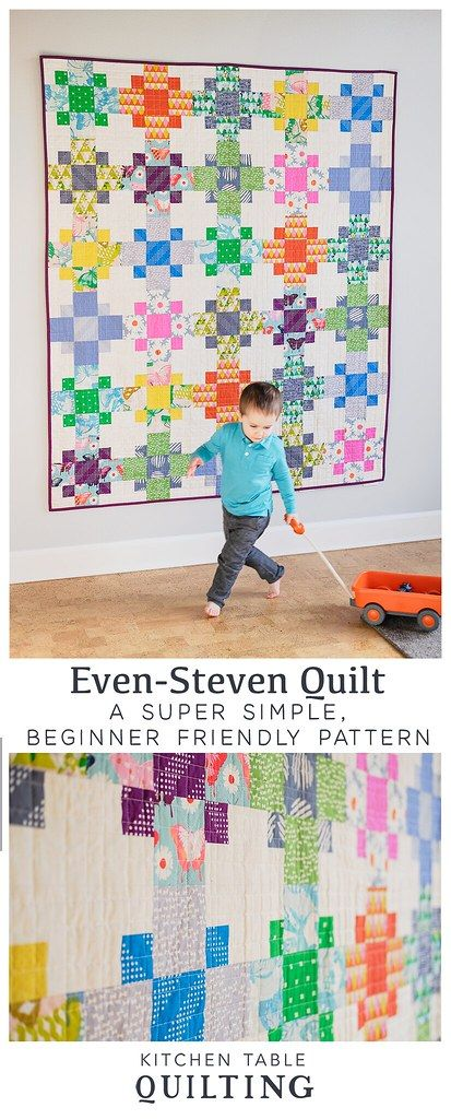 EvenSteven Quilt Pattern  Now Available is part of Quilt patterns, Colorful quilts, Quilts, Quilting for beginners, Easy quilts, Quilting projects - I am excited to share that the pattern for my EvenSteven quilt is now available! This is my second pattern that is made with beginning quilters in mind  It is perfect for firsttime quilters, but is also a fun, quick finished for more experienced quilts  The pattern is available as a PDF or a paper pattern and includes instructions for the following sizes Baby Size 36  x 48  Lap Size 60  x 72  Twin Size 72  x 96  Both the baby and lap size versions are fat quarter friendly  I was asked on Instagram if the pattern could be made with layer cake squares, and the answer is yes! The information isn't included in the pattern, but here are the fabric requirements if you would like to use a layer cake Baby Size (12) squares for the A Fabrics and (6) squares for the B Fabrics (18 total 10  squares) Lap Size (30) squares fo the A Fabrics and (15) squares for the B Fabrics (45 total 10  squares) Twin Size (48) squares for the A Fabrics and (24) squares for the B Fabrics (72 total 10  squares) Follow the cutting instructions in the pattern  From each 10  square you can cut A Fabrics for 1 block or B Fabrics for 2 blocks  I had 4 fabulous pattern testers help me with this pattern and I am excited to share their quilts with you! Michele (@michele likes to quilt) made the baby size in some beautiful pinks and blues from a Dear Stella line called Flirt  She had this to say about the pattern  What a great project for beginners! This pattern is such a good use of some large scale prints that first time quilters might be interested in, or that any quilter might have in their stash  A fun, fast quilt for anyone!  Kelly (@kellyhenriod) made the baby size version in some pretty blues and neutrals  I really enjoy looking at Michele and Kelly's versions side by side because they are so different but still so fun! How fun is this lap size version that Erin (@houseonhillroad) made  I love the dots and stripes and all of those fun colors! Miranda (@mustlovequilts) made the twin size version using Bonnie and Camille fabrics  I love how they look with the dark Moda Crossweave background fabric! I hope you all enjoy this pattern! Don't forget to pick up your copy in my shop!
