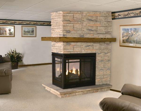 3 sided fireplace basement Pinterest Basements Fireplace