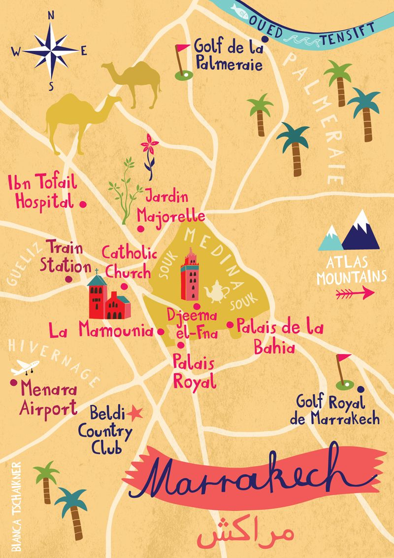 Map Of Marrakech Morocco By Bianca Tschaikner More Travel