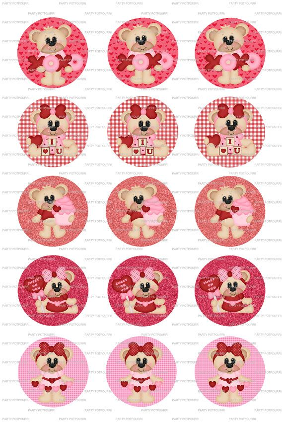 Instant Download Valentine Bear Bottle Cap 4x6 By Partypotpourri