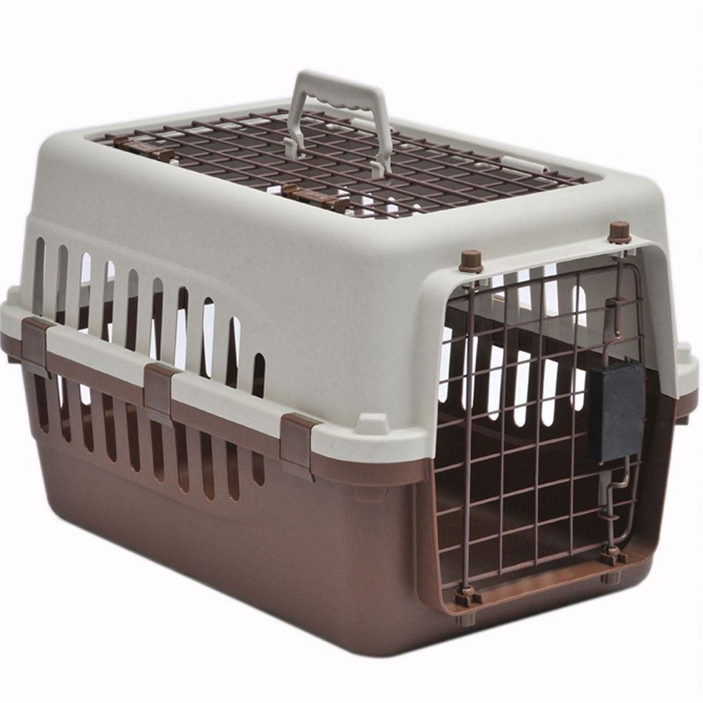 Home Discount Pet Carrier Animal Cage Cat Dog Transport Box Spring Lock Door White And Brown 2 Door Large Dog Carrier Pet Carriers Pet Cage