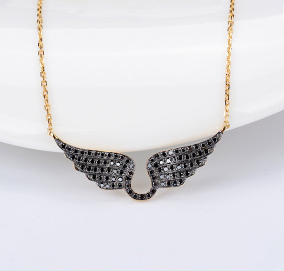 43f983a5f5aeb Solid 18K Gold Diamond Pave Horseshoe And Angel Wings Pendant ...