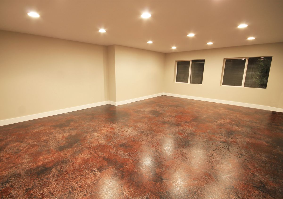 Stained concrete floor. Love the mottled colors and would be great ...