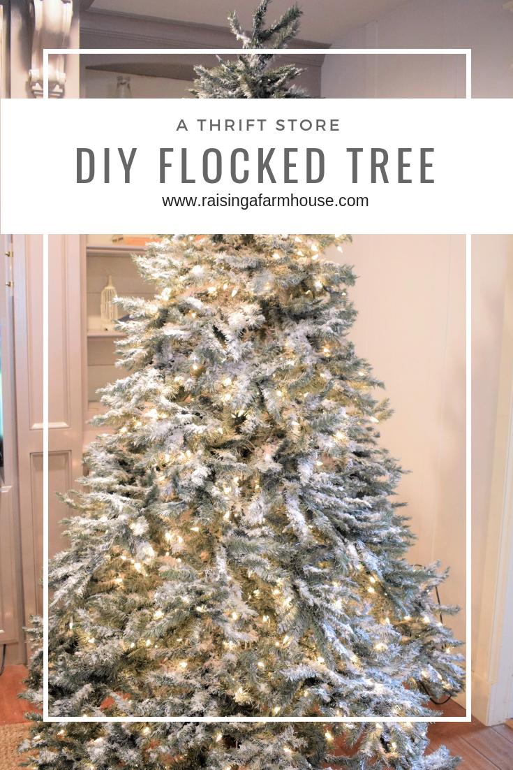 Diy Flocked Thrift Store Christmas Tree Flocked