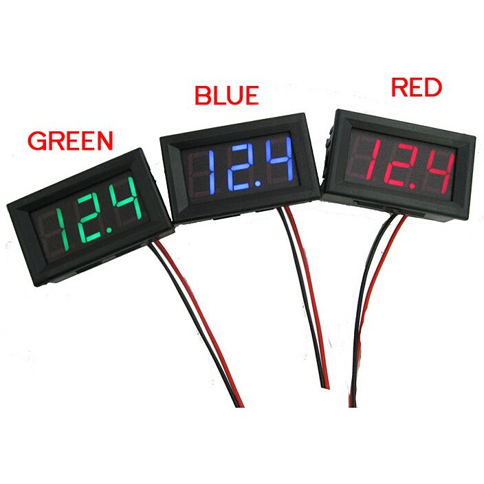 Red//Blue//Green LED Panel Digital Voltage Meter Display Voltmeter Motorcycle Car