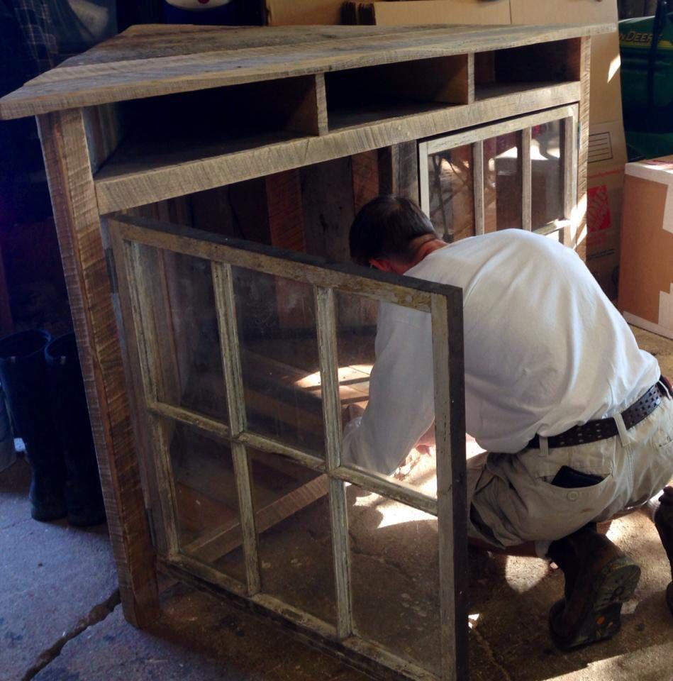 corner entertainment center for a client barnwood furniture. Black Bedroom Furniture Sets. Home Design Ideas