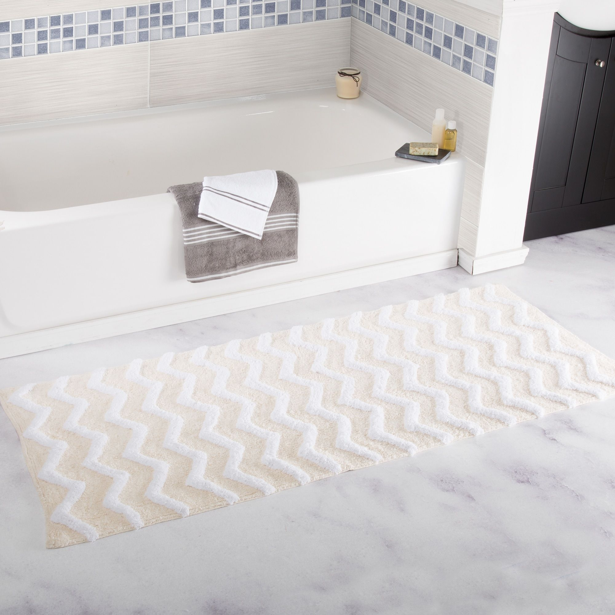 Windsor Home 24 X 60 Inch 100 Cotton Chevron Bathroom Mat In
