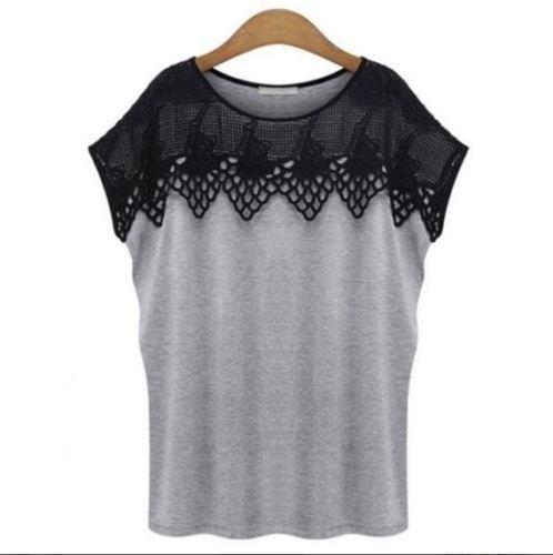 T-shirt-plastron-en-macrame-gris