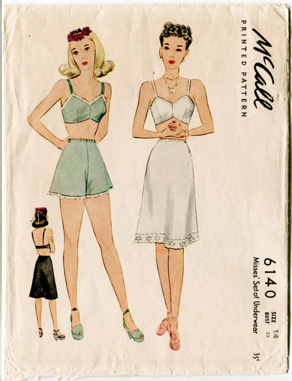 1940s 40s McCall 6140 vintage lingerie sewing pattern bra knickers + ...