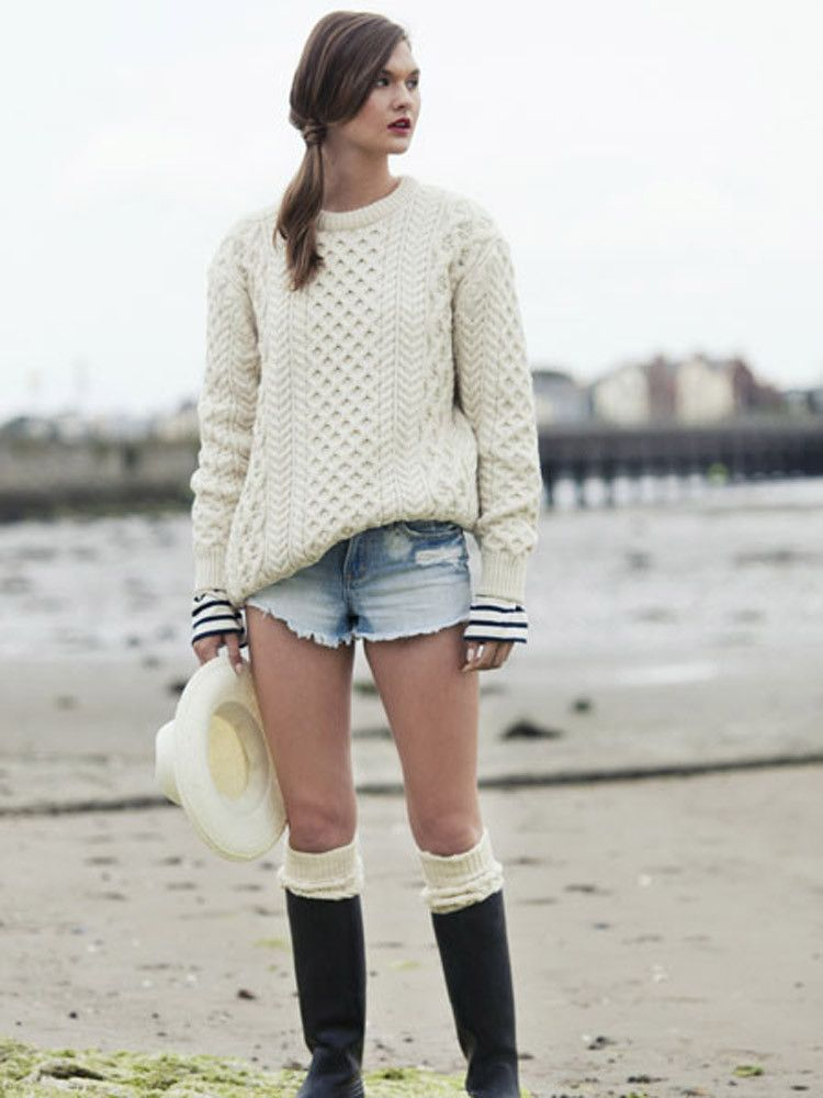 This gorgeous Irish Aran sweater, available in natural, red and blue ...