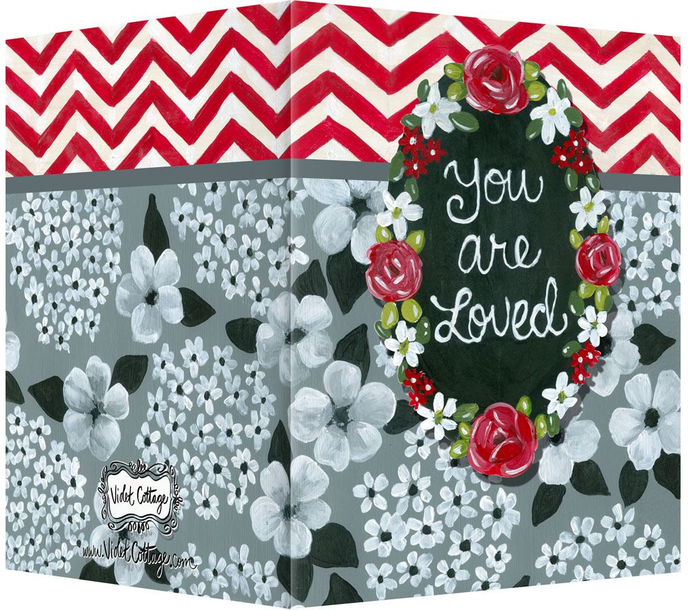 You Are Loved Chintz And Red Chevron Pattern Greeting Card Blank
