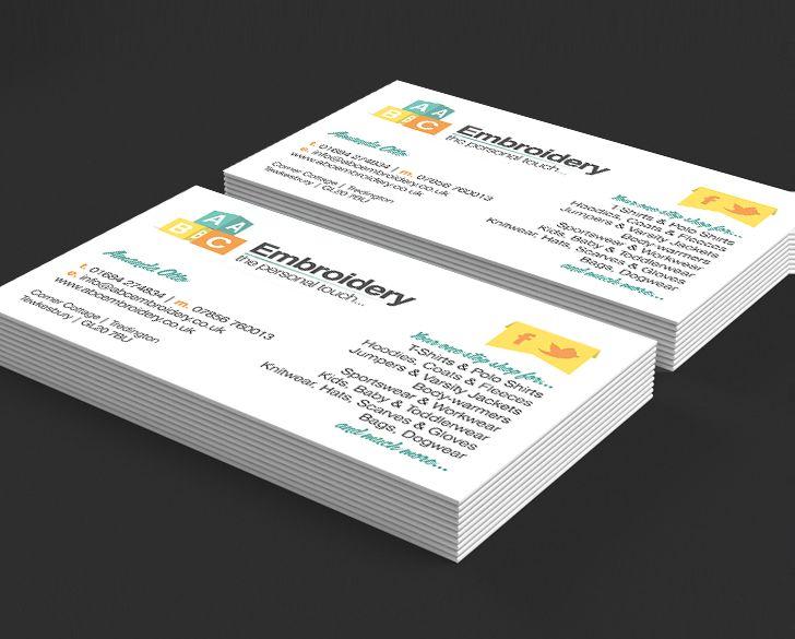 Design and print of short run digital colour business cards for abc design and print of short run digital colour business cards for abc embroidery tewkesbury printed 4 colour digital on 350gsm silk card reheart Images