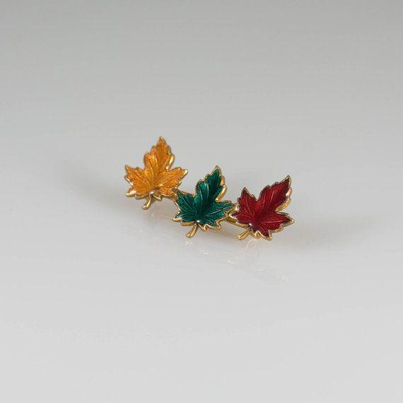 Vintage Deep Orange Autumn Maple Leaf Brooch Pin