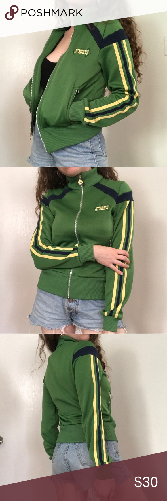 Adidas Original Sport Retro Jacket in Green   Jackets, Retro