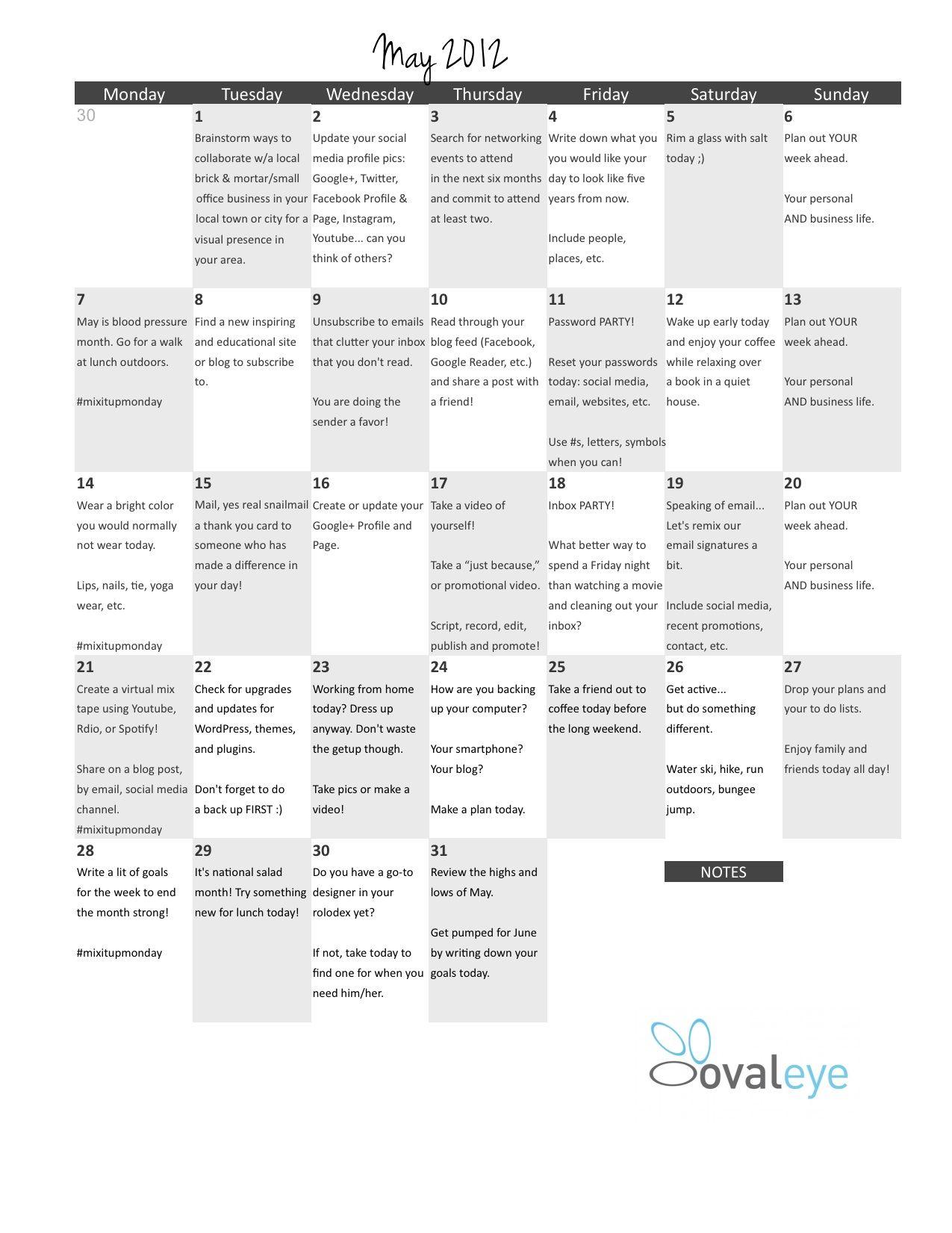 Printable-- Home Based Business ACTION Calendar | Home based ...