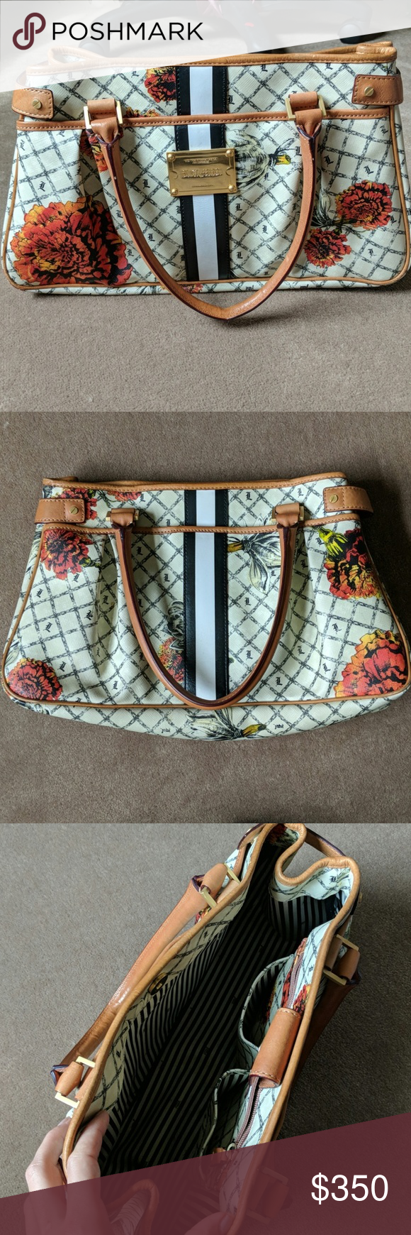 632cd7f17b16 L.A.M.B. Marigold Hopewell RARE Signature print satchel trimmed with hand  painted leather stripe and logo detailed