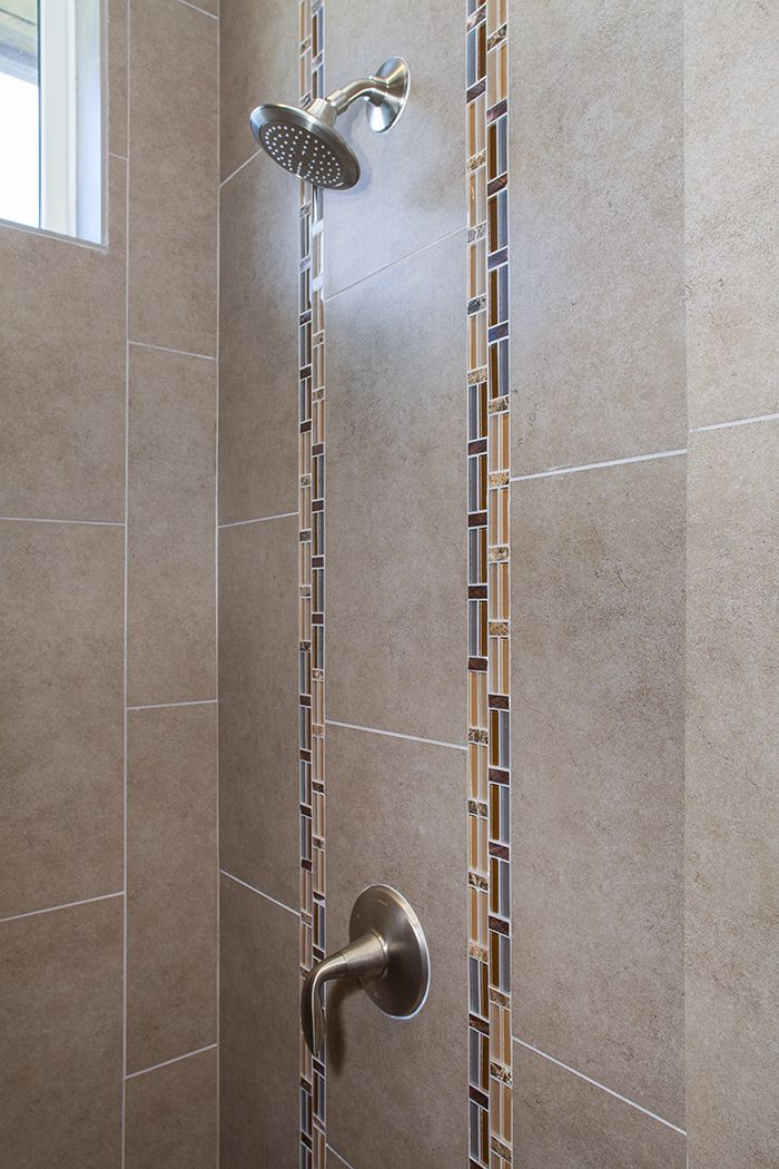 Bathroom tile detail vertical accents on the main shower - Bathroom accent tile design ideas ...