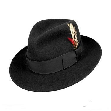 7e600fd5843 Mens Black Fedora Hat 100% Wool Untouchable Brim Hats 8345