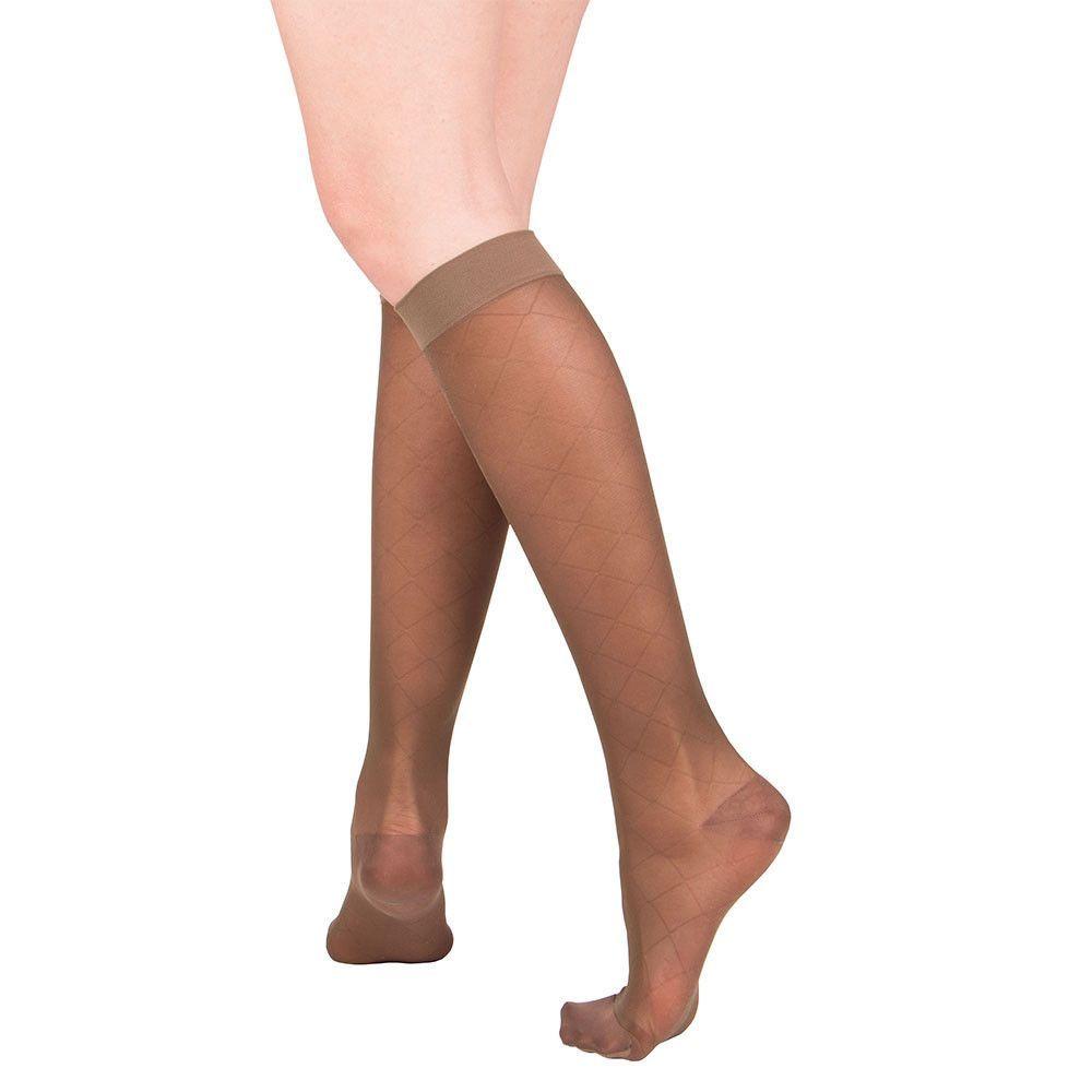 f409732f8f7 Knee High Sheer Stockings with Diamond Pattern