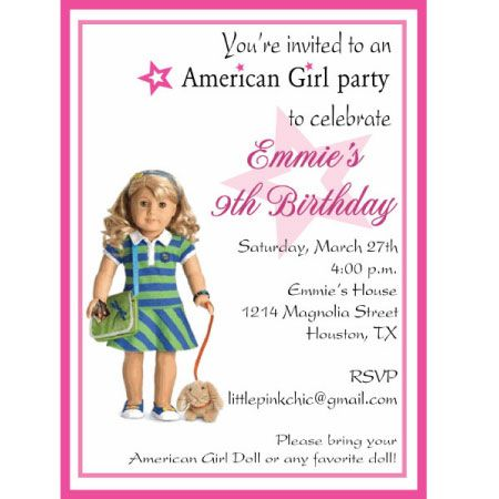 For an Am Girl Doll Party You can customize the doll Kid