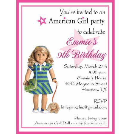 American Girl Doll American Girl Invitations American Girl